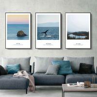 北欧风客厅装饰画沙发背景墙挂画风景画唯美海景现代简约卧室壁画