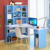 桌带衣柜连体书桌书柜书架一体组合家用学生学习书台简约台式电脑