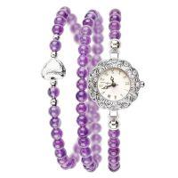 紫水晶手链表 时尚潮人紫水晶佛珠手链手表腕表批发代理 厂家直销
