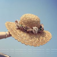草编大沿防晒遮阳帽子女夏天沙滩花朵蝴蝶结波浪边草帽海边太阳潮