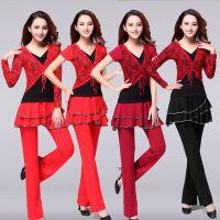 2016广场舞服装套装新款夏秋民族风撞色裙舞蹈演出服两件套
