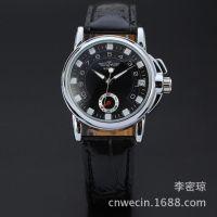 ebay速卖通时尚热销winner品牌真皮表带全自动手表男士商务机械表
