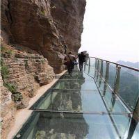 山区 旅游景点玻璃栈道不锈钢栏杆立柱 景观桥 楼台玻璃栈桥护栏