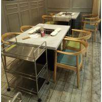 简约现代蒸汽式大理石火锅桌无烟火锅桌椅