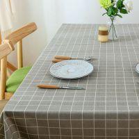 简约80*120cm文艺北欧清新方格子防水茶几餐桌布艺棉麻长方形桌布