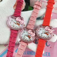 hello kitty猫头钻石手表 凯蒂猫皮带女生手表 镶钻KT猫头造型表