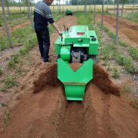履带式桃树开沟施肥机 带遥控锄草机 果树果园开沟施肥机