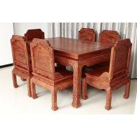 东阳华夏一品红木缅甸花梨檀雕荷花西餐桌椅