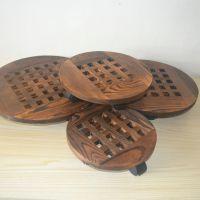 实木花盆托盘圆形万向轮加厚花托底部带滚轮可移动花盘垫底座包邮