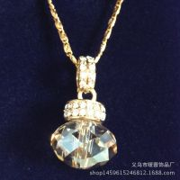工厂直销铜镀银镶宝石珠宝饰品18K金水晶吊坠项链合金锆石饰品链