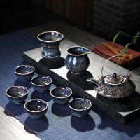 一件代发景德镇天目釉窑变整套功夫茶具陶瓷套装汝窑6人家用茶壶