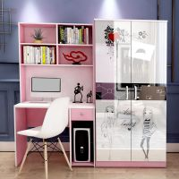 定做连体书柜写字台书架家用台式电脑桌带衣柜加书桌组合柜小户型