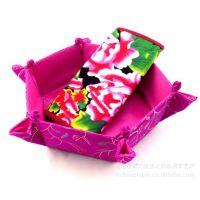 可折叠织锦杂物收纳盒 干果零食瓜子果盘厂家 绣花六角果果盒定制