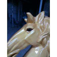 大型马雕塑酒店会所KTV婚礼道具美陈腾空马雕塑玻璃钢仿铜拉车马