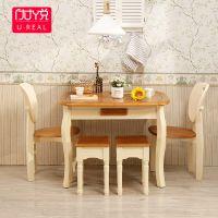 地中海餐桌椅组合美式风格家具圆桌实木饭桌可折叠伸缩小户型餐桌