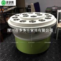 深圳厂家定做主题酒店圆形大理石火锅酱料台 安装LED灯带效果