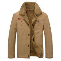 男式新款毛领加绒夹克宽松大码外套褂子速卖通亚马逊境外电商货源