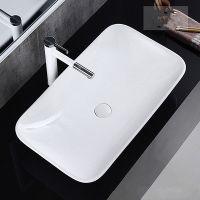 白色陶瓷盆薄边台上卫生间洗手盆长方形无孔盆