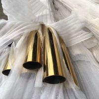 304不锈钢黄钛金圆管28mm壁厚1.0mm真空电镀彩色管