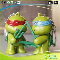 新款卡通迷你忍者神龟钥匙扣发光发声led手电筒定制批发创意礼品
