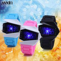 LED运动夜光战斗飞机儿童电子表运动男女果冻手表七彩表学生防水