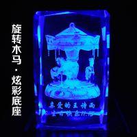 3D水晶内雕雕刻玫瑰照片摆件生日结婚创意纪念高档礼品工艺品定制