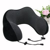 厂家订制旅行用便携式U形枕 磁石布可收纳记忆棉午睡飞机护颈头枕