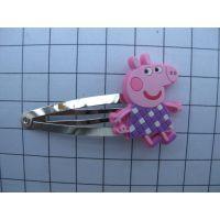 小猪佩奇PVC滴胶发夹 可爱卡通PVC软胶头饰