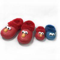 芝麻街秋冬新款成人款妈妈鞋EVA加毛绒保暖特色喜气红色亲子拖鞋