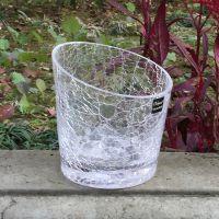 透明斜口冰花小花瓶裂纹玻璃花瓶 花盆 花器 微景观玻璃瓶批发