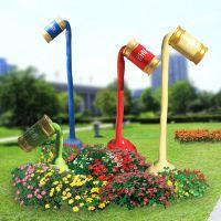 玻璃钢创意油漆桶花筒色彩树脂彩绘主题抽象大型户外商业美陈装饰城市景观雕塑