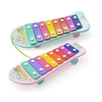 儿童益智玩具婴儿音乐乐器拖拉敲琴  宝宝拉线八音阶小琴