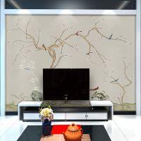 厂家直销大型无缝壁画新中式花鸟酒店客厅卧室电视背景墙布特价