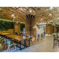 造型铝树 木纹弧形铝方通 木纹铝方通吊顶隔断装饰