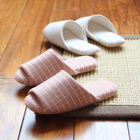 可机洗日式家居家情侣无声软底夏季男女室内木地板布底大码棉拖鞋