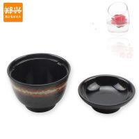 A5黑金系列盖碗磨砂螺纹炖盅汤盅味增汤碗密胺塑料仿瓷餐具