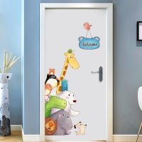 卡通儿童房卧室装饰门贴画可爱自粘壁纸身高ins幼儿园墙贴墙纸贴
