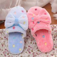 新款蝴蝶结棉拖鞋 女士可爱冬季保暖棉拖居家防滑室内地板毛拖鞋