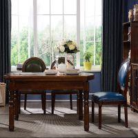 美式乡村实木餐桌椅伸缩可圆桌折叠家具家用小户型组合多功能饭桌