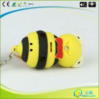 创意新款 发光发声蜜蜂钥匙扣 led热销批发小礼品 包包配饰挂件
