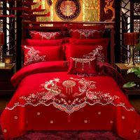 冰丝加厚婚庆四件套喜庆支边双人复古床上多件套粉新婚大红床品