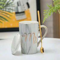 大理石纹带盖带勺陶瓷马克杯 促销礼品马克杯