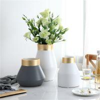 简约现代北欧风美式陶瓷花瓶白灰样板房酒店电视柜玄关创意三件套