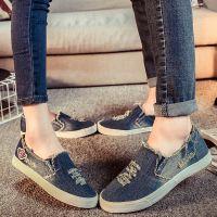 名将 2017春夏季新款情侣鞋牛仔帆布鞋女休韩版潮懒人套脚单鞋子