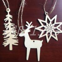 批发圣诞节挂件 创意镂空雪花树 冷杉树 糜鹿节日摆饰 木质工艺品