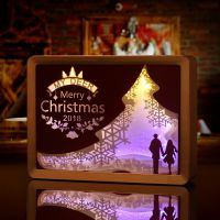 光影纸雕灯创意艺术圣诞款相框画立体纸雕灯定制