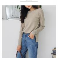 微供针织衫女 浙江2018秋季新款弹力修身圆领T恤 长袖套头羊毛打底衫
