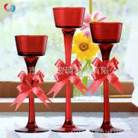 欧式蜡烛 现代浪漫创意玻璃烛台 家居装饰摆件 七彩定制款