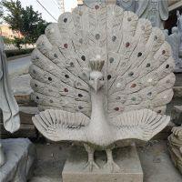 福建惠安厂家石雕老鹰 花岗岩动物孔雀开屏雕像 园林广场摆件工艺品可定制