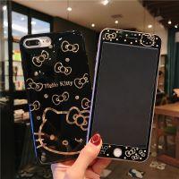 苹果iphone7plus钢化膜全屏8x玻璃彩膜6s手机壳6plus卡通KT猫可爱